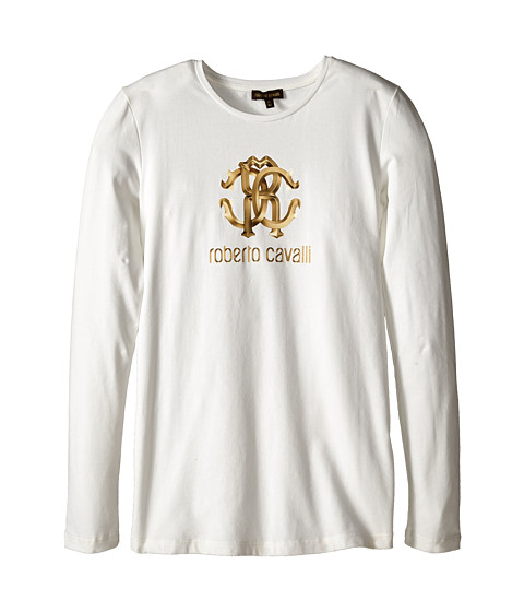 Roberto Cavalli Kids - Cavalli Long Sleeve Logo Tee Shirt (Big Kids) (White) Girl