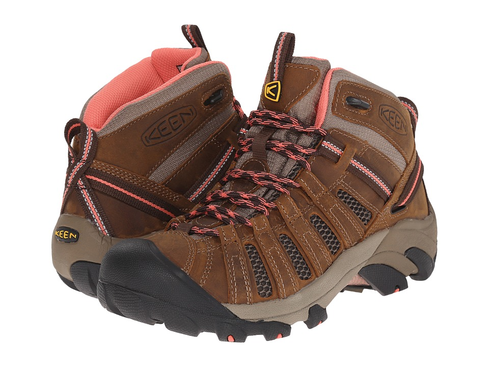 Keen - Voyageur Mid (Cascade Brown/Fusion Coral) Women's Hiking Boots