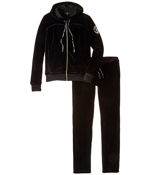 Roberto Cavalli Kids - Velour Tracksuit Set (Big Kids) (Black) Girl's Suits Sets