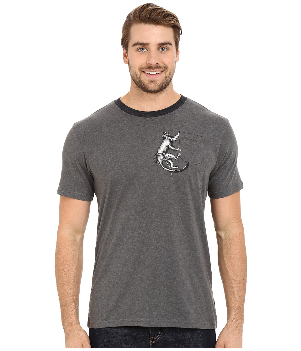Prana - Silly Monkey Ringer (Charcoal) Men's T Shirt