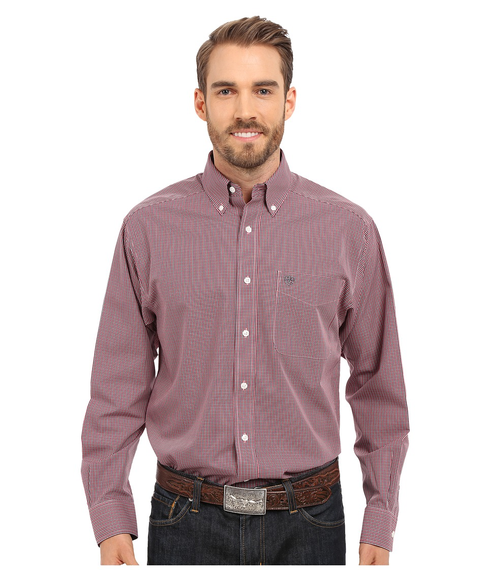 Ariat - Inwood Wrinkle Free Shirt (Crimson Flame) Men's Long Sleeve Button Up