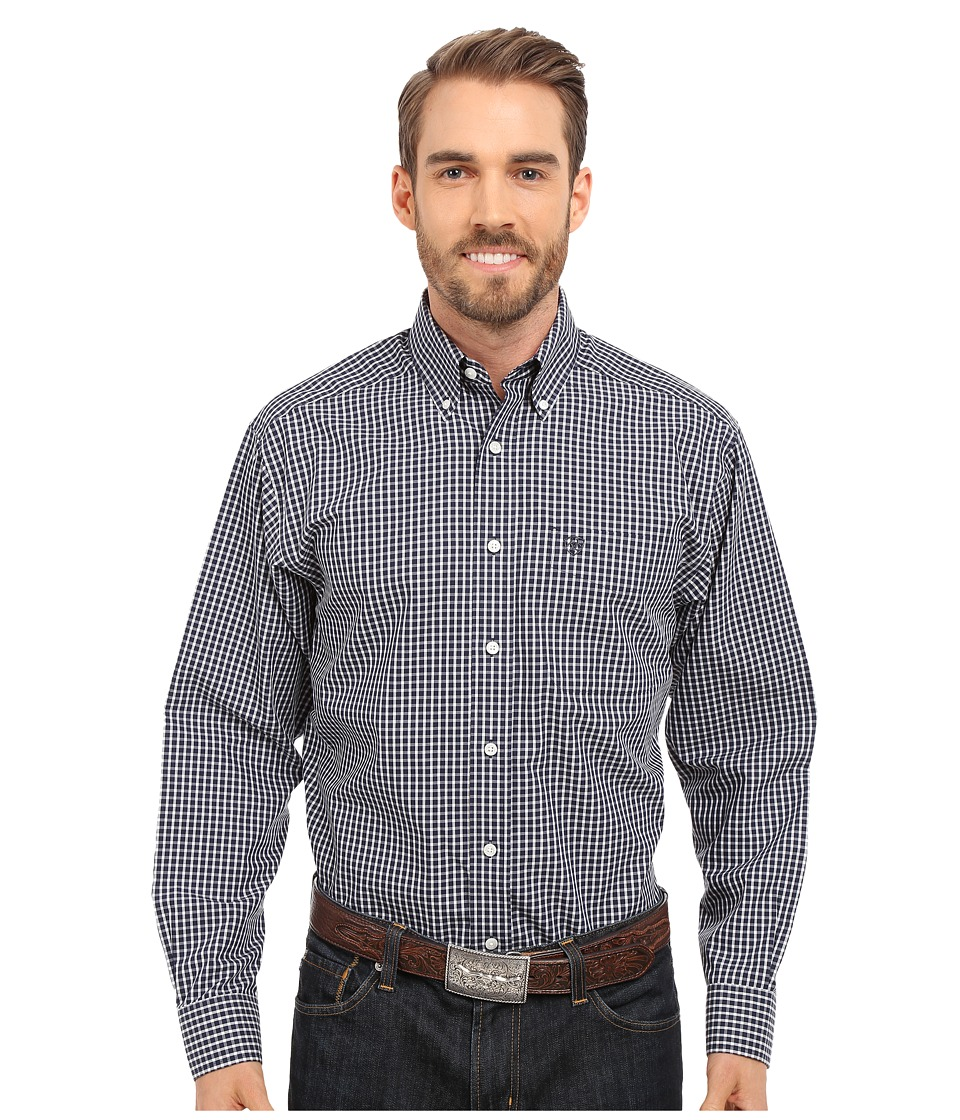Ariat - Irving Wrinkle Free Shirt (True Navy) Men's Long Sleeve Button Up