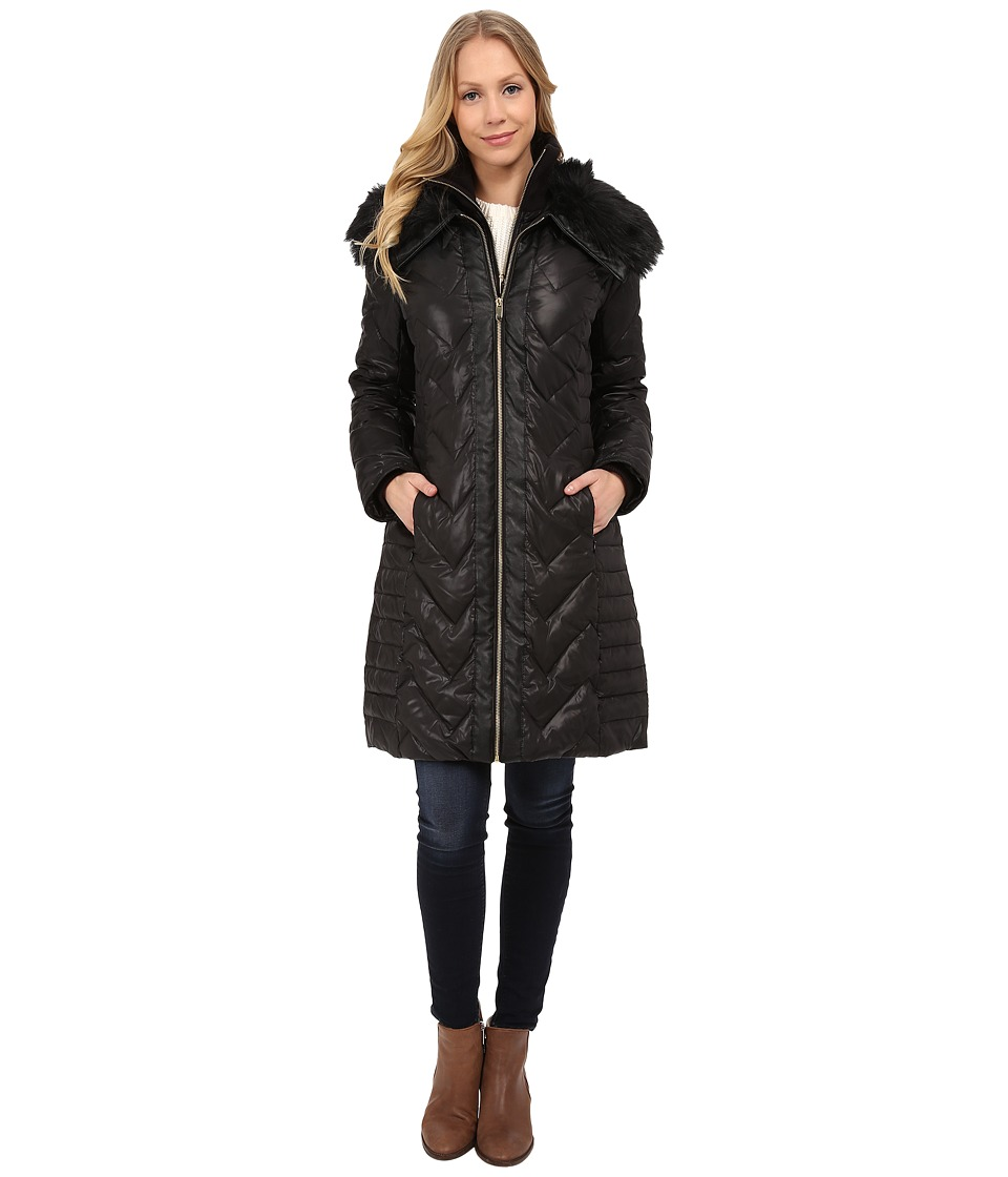 Via Spiga - Zip Front Down Coat w/ Contrast Faux Fur On Collar (Black/Black) Women's Coat