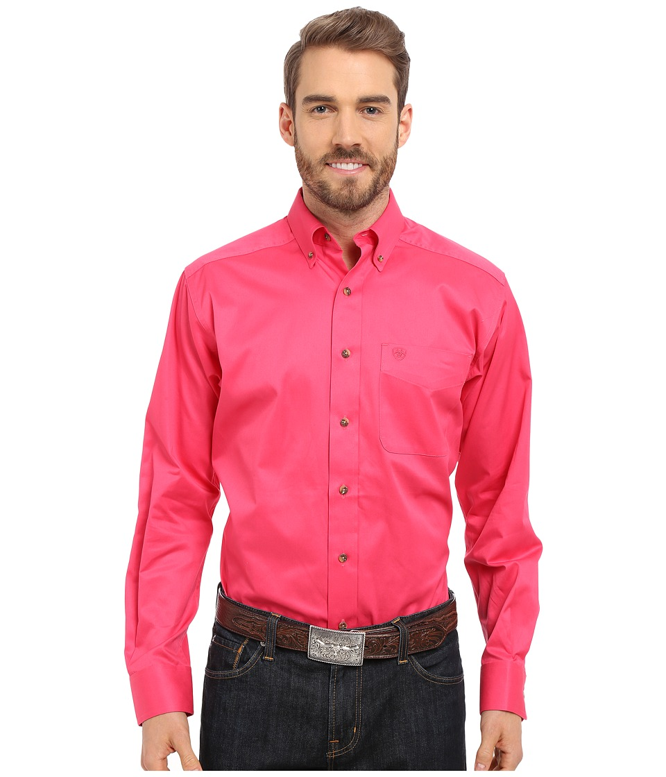 Ariat - Fitted Solid Twill Shirt (Fruit Punch) Men's Long Sleeve Button Up
