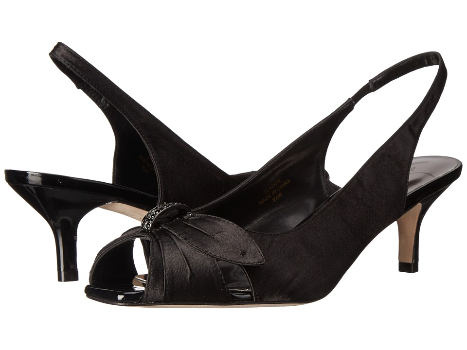 J. Renee - Slader (Black Satin) Women's Sling Back Shoes