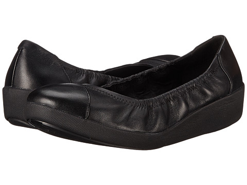 FitFlop - F-Pop Ballerina (All Black Leather) Women's Shoes