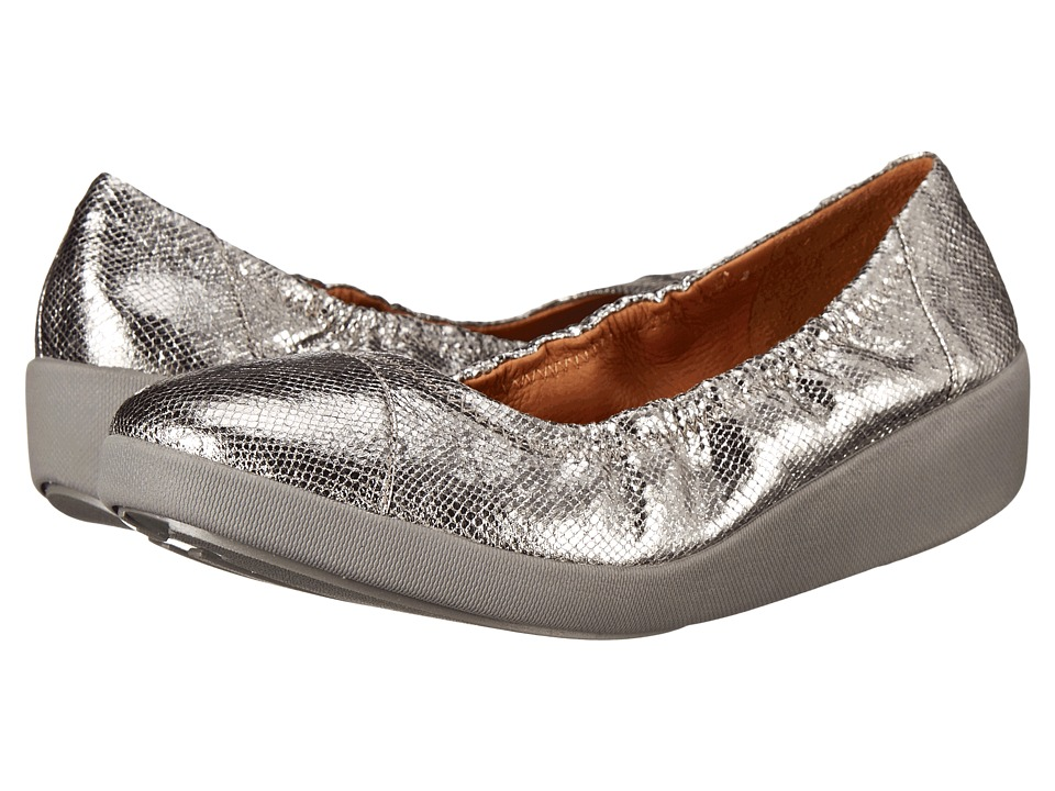 FitFlop - F-Pop Ballerina (Pewter) Women's Shoes