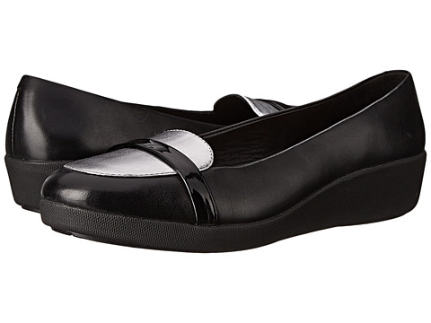 FitFlop - F-Pop Loafer (Black/Silver Mirror) Women's Shoes