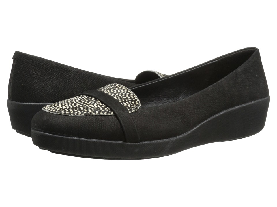 FitFlop - F-Pop Loafer (Black Mix Pony) Women's Shoes