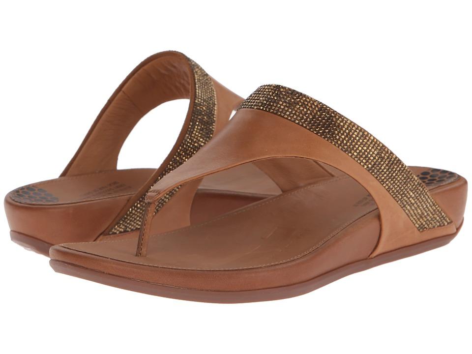 FitFlop Banda Micro-Crystal Toe Posttm Tan  Shoes