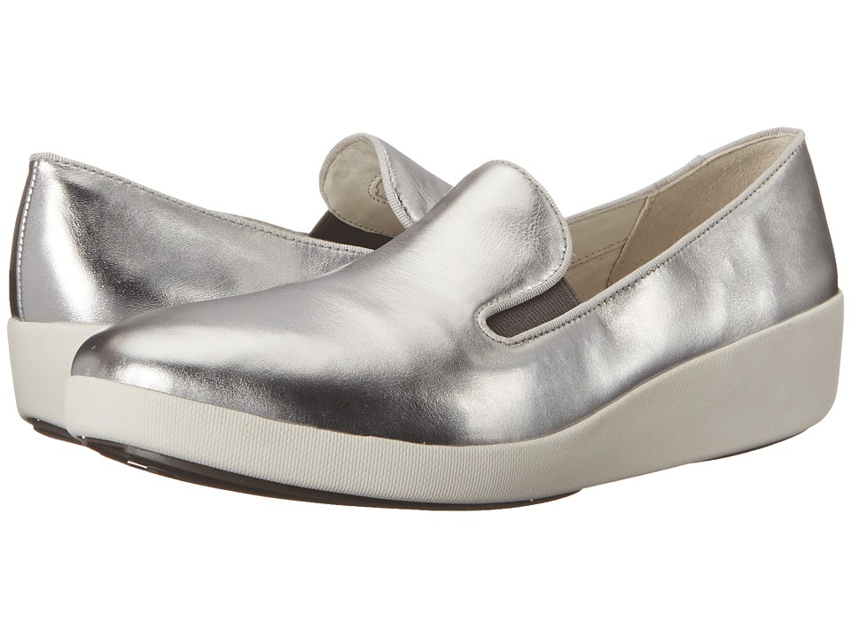 FitFlop - F-Pop Skate (Silver Leather) Women's Shoes