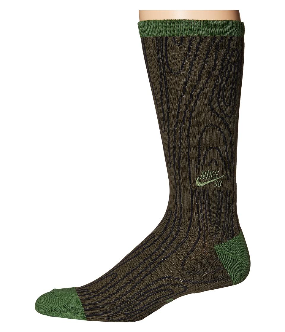 Nike SB - Dri-Fit Woodgrain Crew (Cargo Khaki/Treeline/Treeline) Crew Cut Socks Shoes