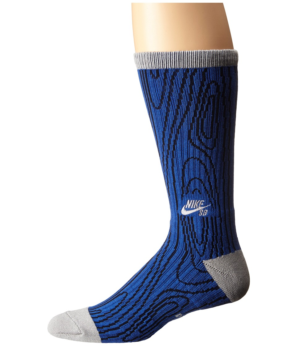 Nike SB - Dri-Fit Woodgrain Crew (Game Royal/Wolf Grey/Wolf Grey) Crew Cut Socks Shoes