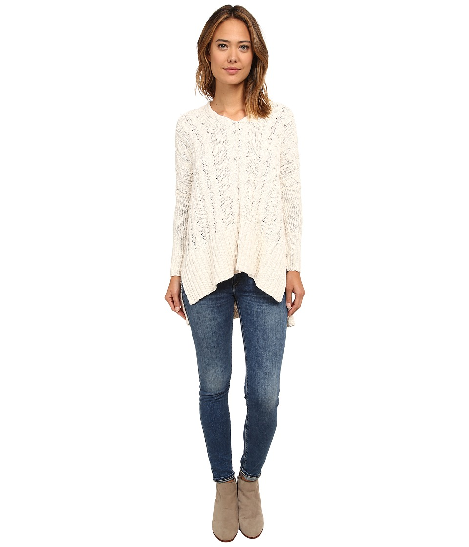 Free People - Easy Cable V (Ivory) Women's Sweater