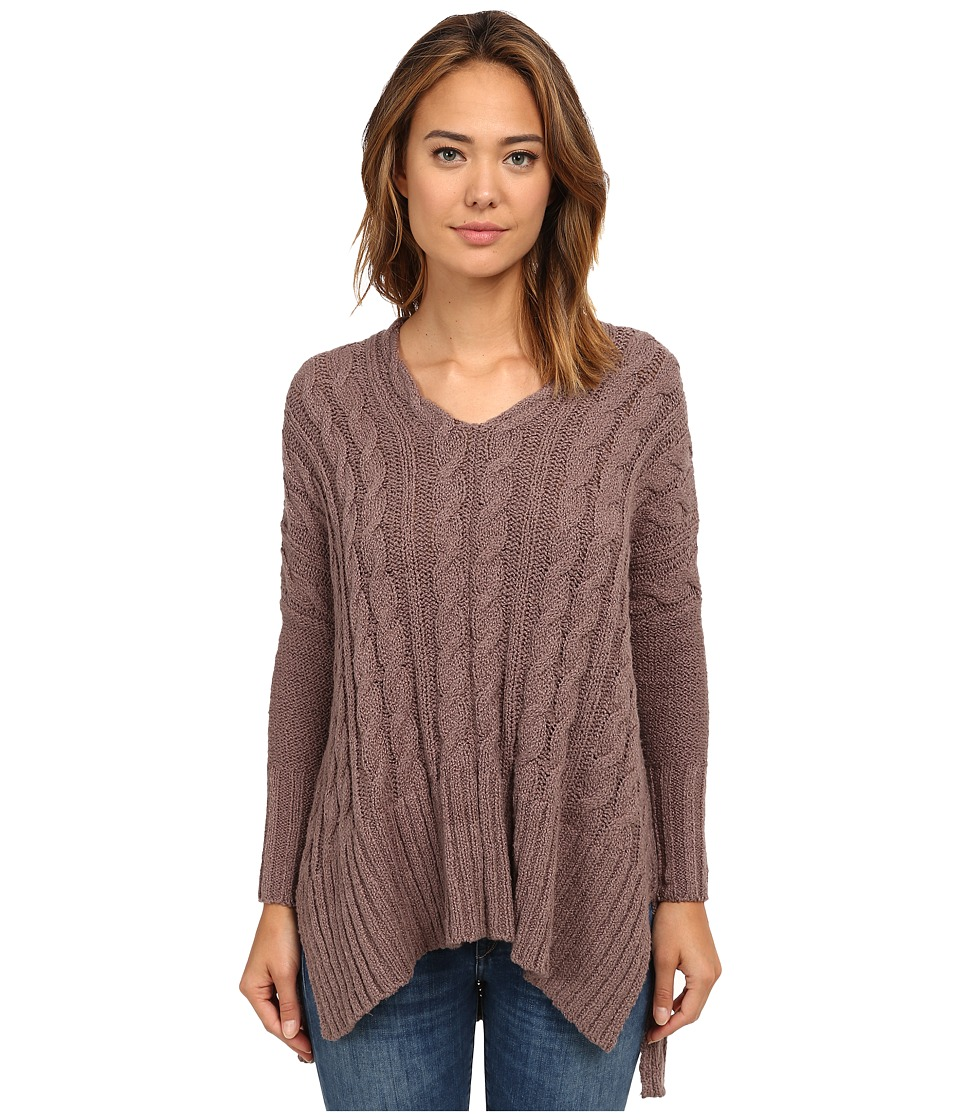 Free People - Easy Cable V (Mushroom) Women's Sweater
