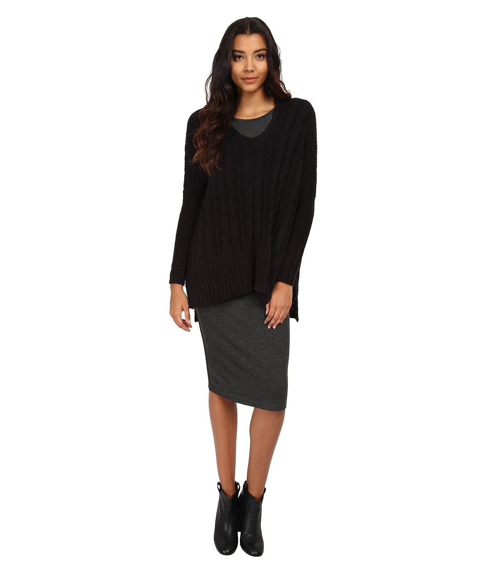 Free People - Easy Cable V (Black) Women's Sweater