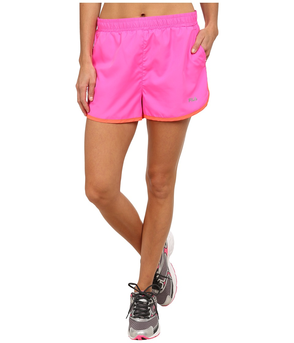 Fila - Contrast Trim Shorts (Pink Surprise/Fiery Coral) Women
