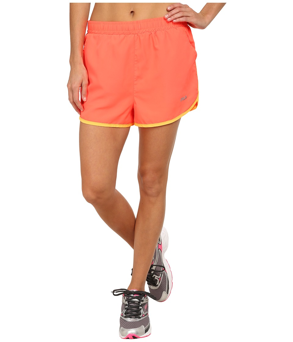 Fila - Contrast Trim Shorts (Fiery Coral/Orange Pop) Women