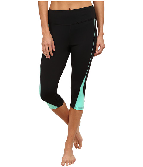Fila - Motion Tight Capris (Black/Electric Green) Women's Capri