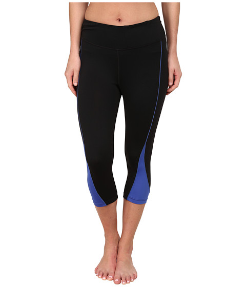 Fila - Motion Tight Capris (Black/Dazzling Blue) Women's Capri