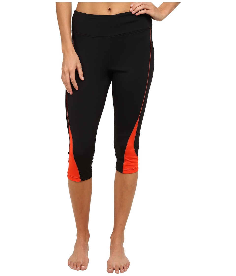Fila Motion Tight Capris (Black/Cherry Tomato) Women