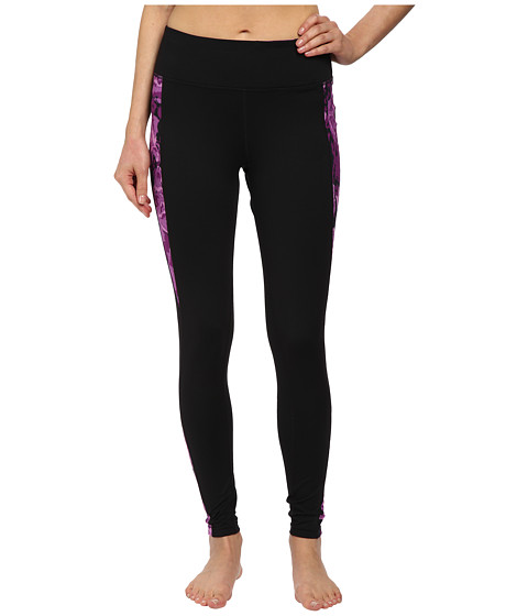 Fila - Streamline Long Tights (Black/Purple Rose Print) Women's Workout