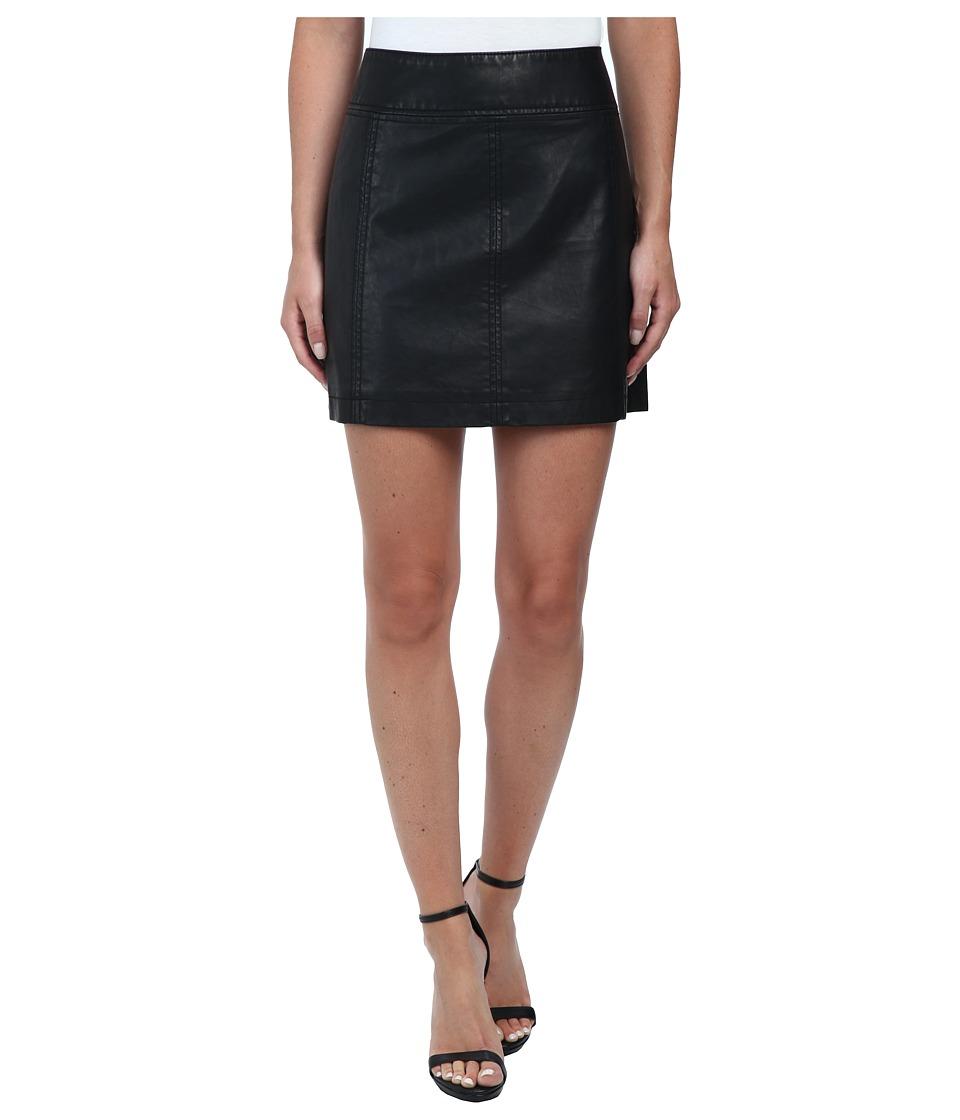 Free People - Zip To It Vegan Leather Mini Skirt (Black) Women