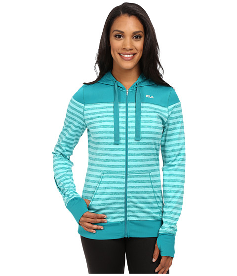 Fila - Striped Hyped Hoodie (Emerald Teal/Electric Green Heather) Women