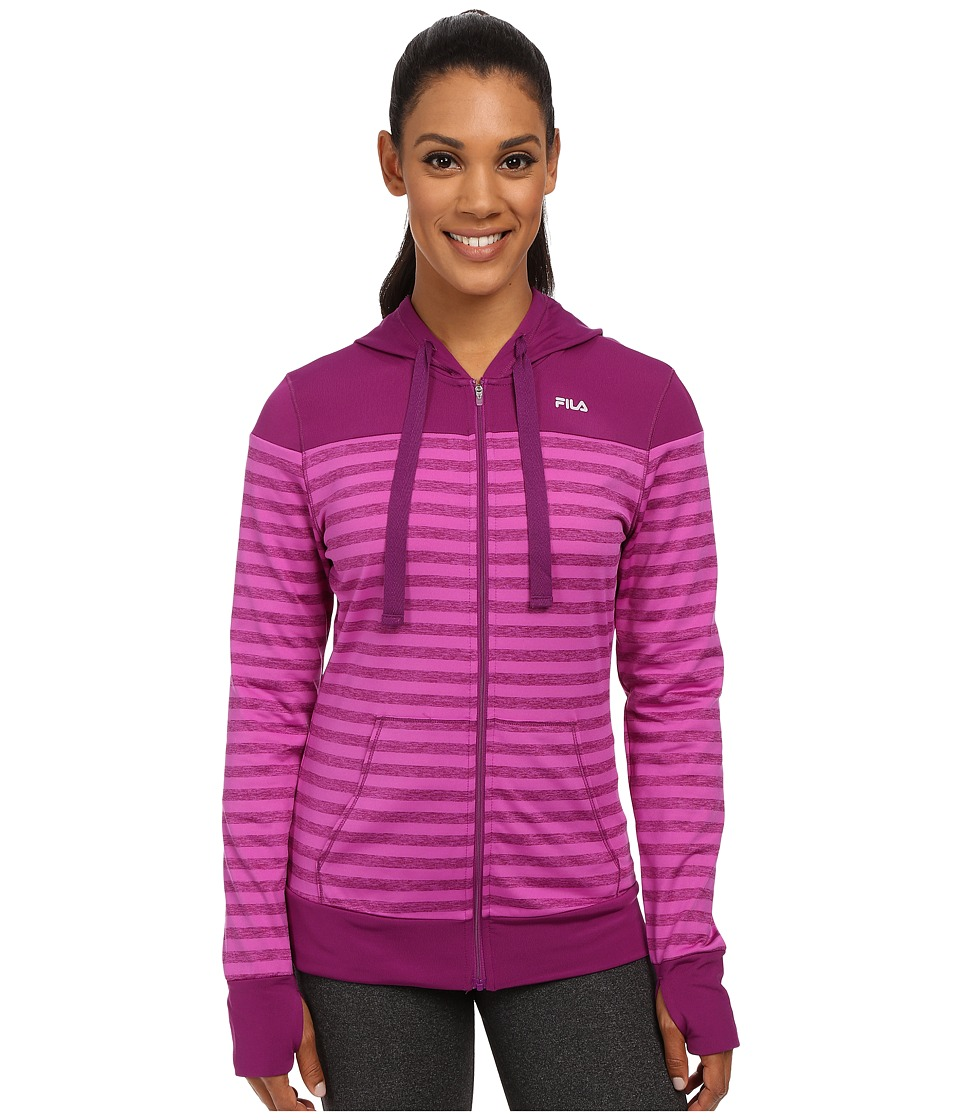 Fila - Striped Hyped Hoodie (Sparkling Purple/Thistle Heather) Women