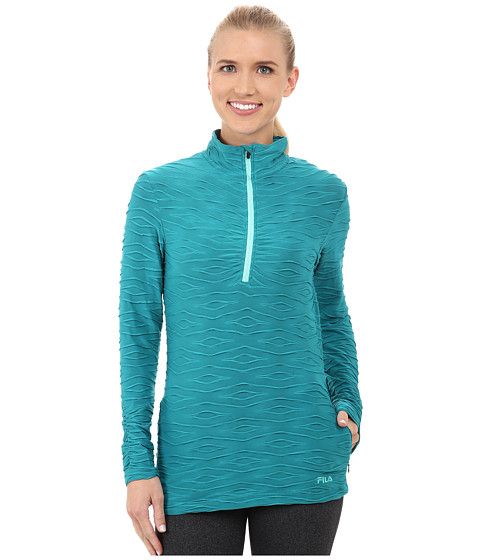 Fila - On The Run Half Zip (Emerald Teal/Electric Green) Women's T Shirt