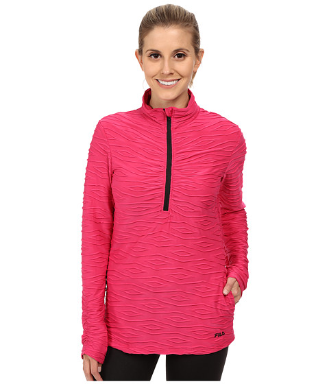 Fila - On The Run Half Zip (Bright Rose/Black) Women