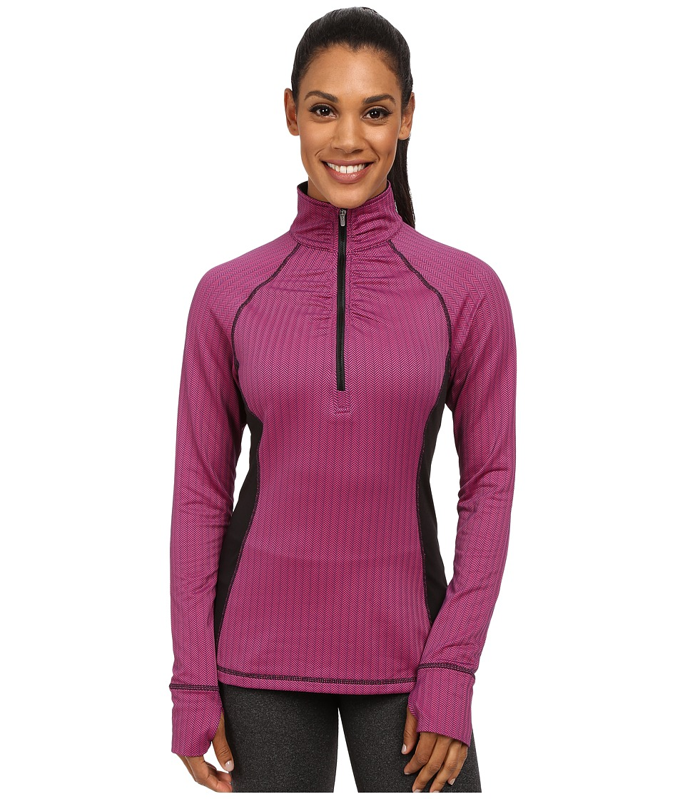 Fila - Herringbone Quarter Zip (Pink Herringbone/Black) Women