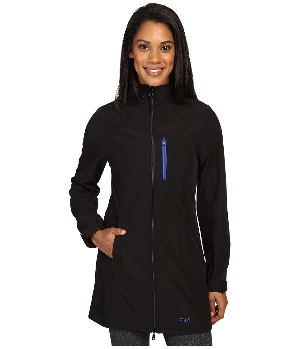 Fila - Venture Long Bonded Jacket (Black/Dazzling Blue) Women's Coat