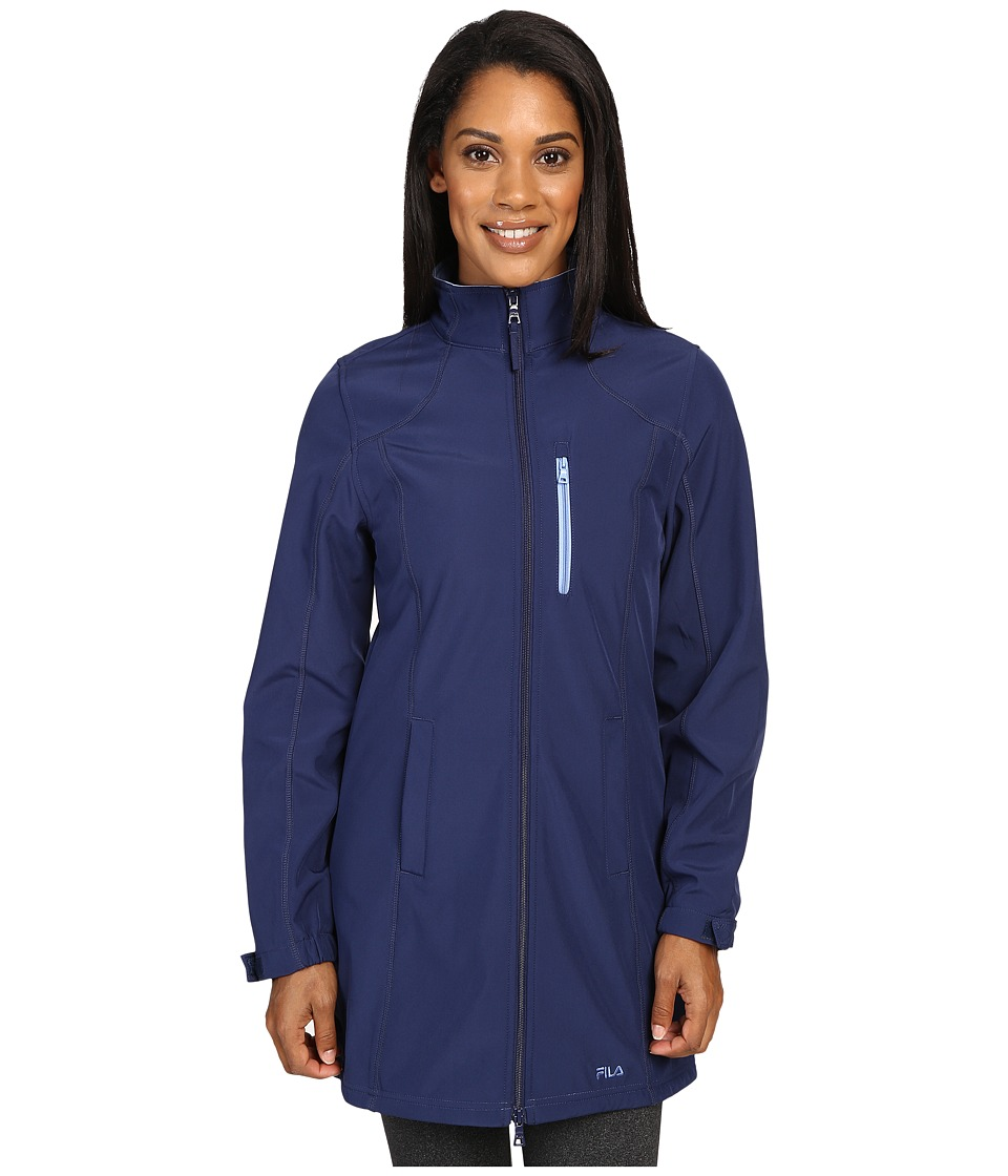 Fila - Venture Long Bonded Jacket (Navy Power/Lavender Blue) Women's Coat