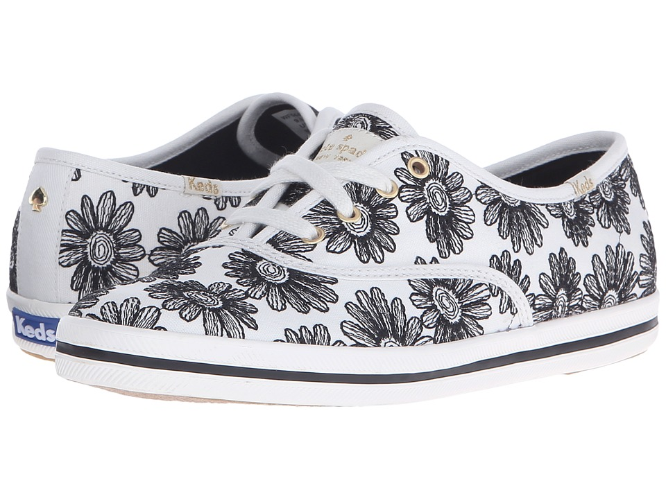 Kate Spade New York - Kick (Black Embroidered Linen) Women's Lace up casual Shoes