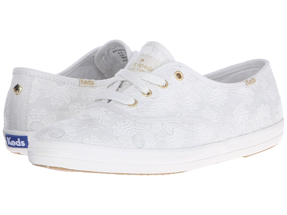 Kate Spade New York - Kick (Pristine White Embroidered Linen) Women's Lace up casual Shoes