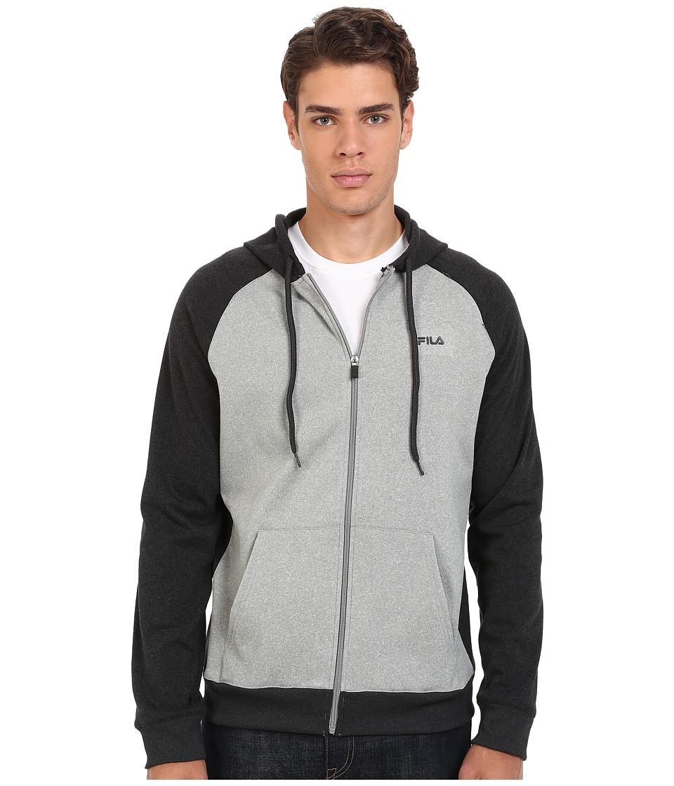 Fila - Onwards Upwords Full Zip Jacket (Black Heather/Grey Heather) Men