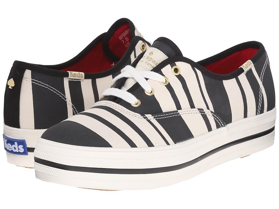 Kate Spade New York - Triple Kick (Black Stripe Canvas) Women's Lace up casual Shoes