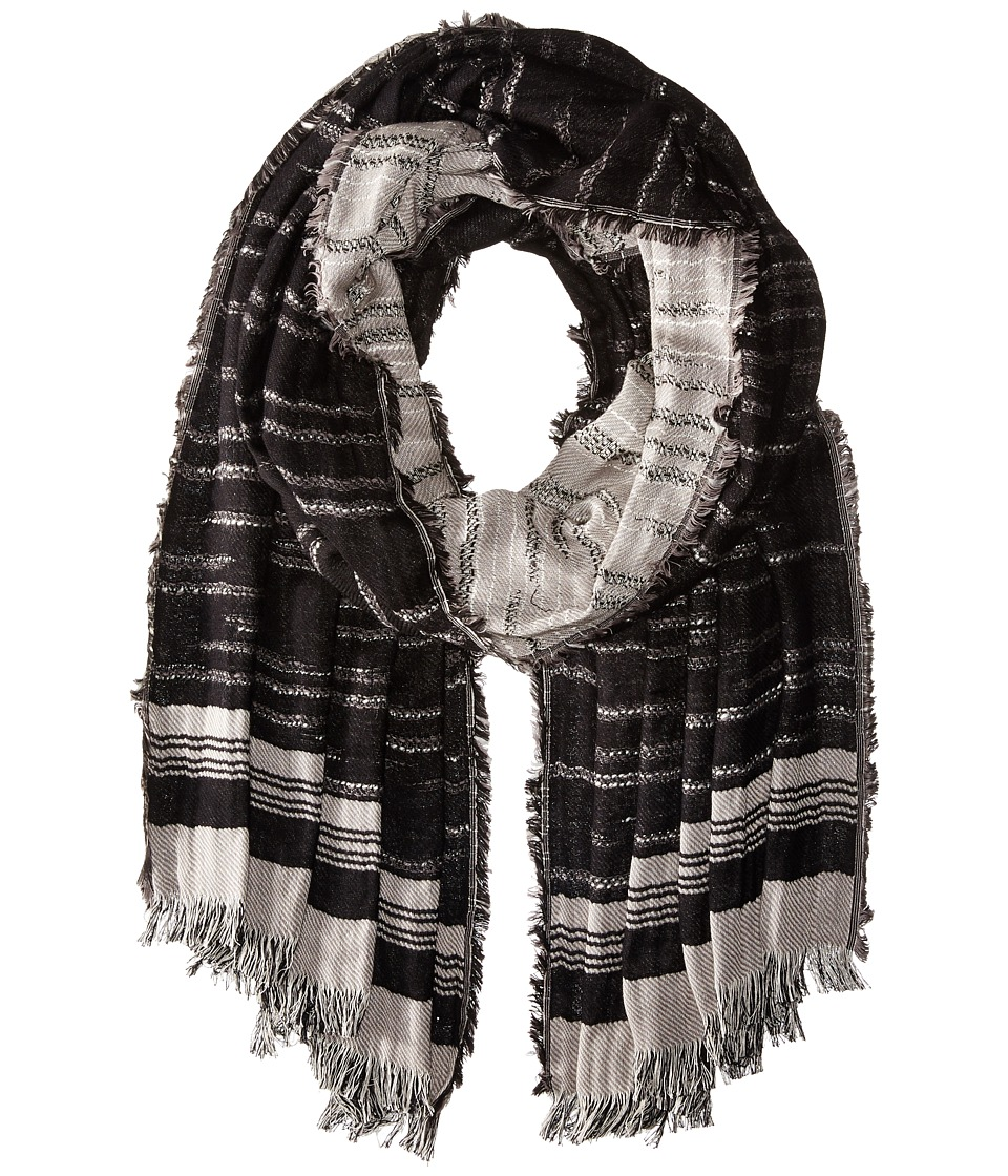 BCBGMAXAZRIA - Distressed Stripe Solid (Black) Scarves