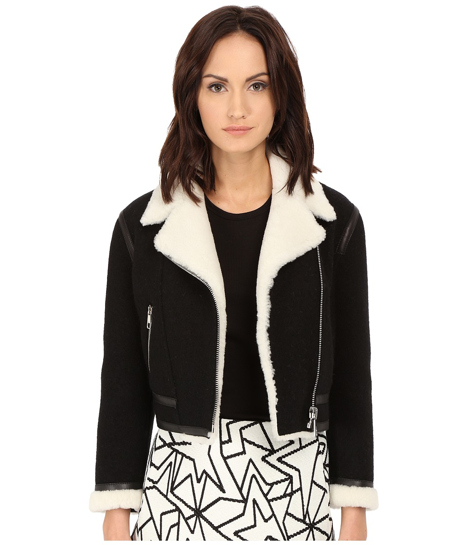 Neil Barrett - Felted Wool + Sheepskin Jacket (Black) Women's Coat