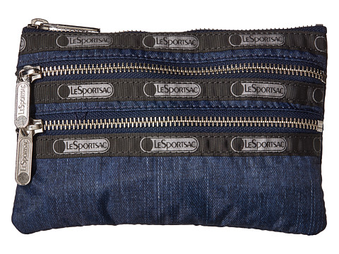 LeSportsac - Modern 3 Zip Cosmetic (True Navy Denim) Cosmetic Case