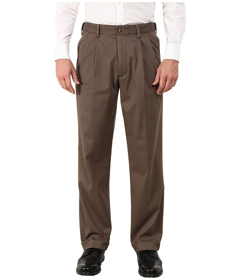 Dockers Men's - Comfort Khaki Stretch Relaxed Fit Pleated (Dark Pebble) Men's Casual Pants
