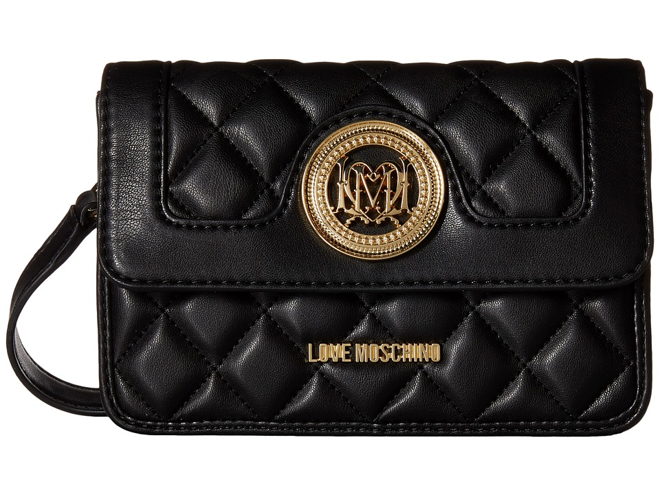 LOVE Moschino - Quilted Crossbody w/ Detachable Wallet (Black) Cross Body Handbags