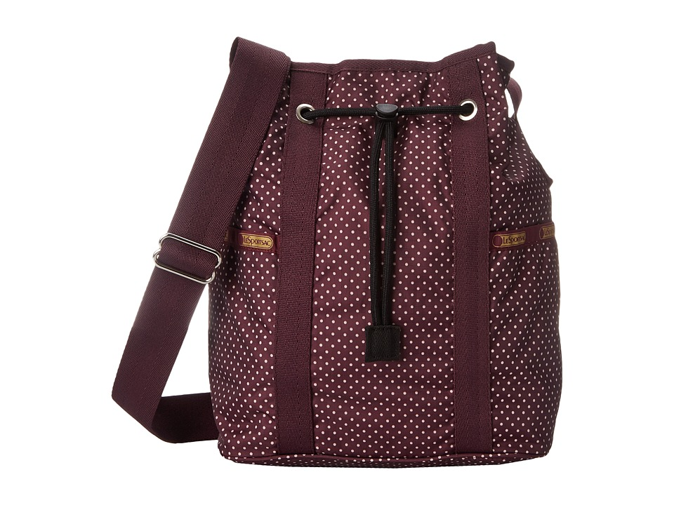 LeSportsac - Bucket Bag (Burgundy Pin Dot) Bags