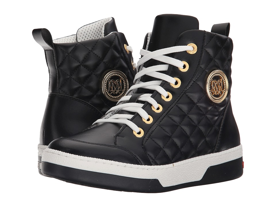 LOVE Moschino - High-Top Sneaker w/ Gold Emblem (Black) Women's Lace-up Boots