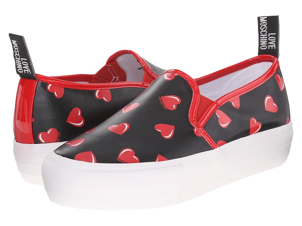 LOVE Moschino - Slip-On Sneaker w/ Heart Print (Black/Red) Women's Slip on Shoes