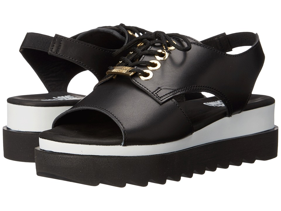 LOVE Moschino - Sandal w/ Tread Sole (Black) Women's Sandals