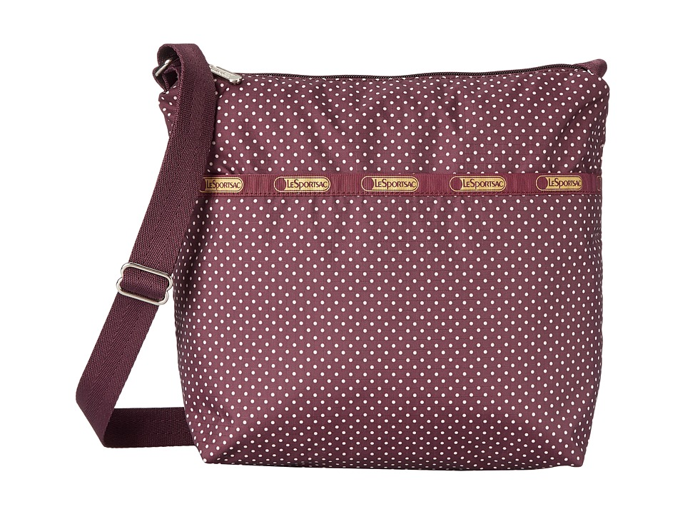 LeSportsac - Small Cleo Crossbody Hobo (Burgundy Pin Dot) Cross Body Handbags