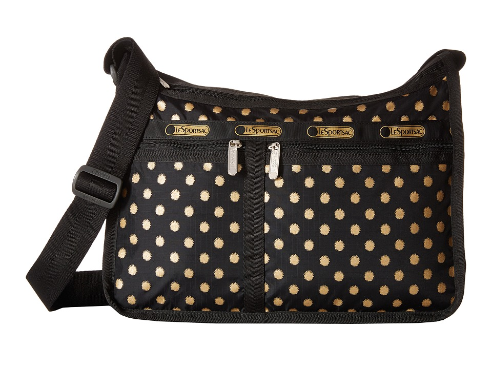 LeSportsac - Deluxe Everyday Bag (Black/Gold Foil) Cross Body Handbags