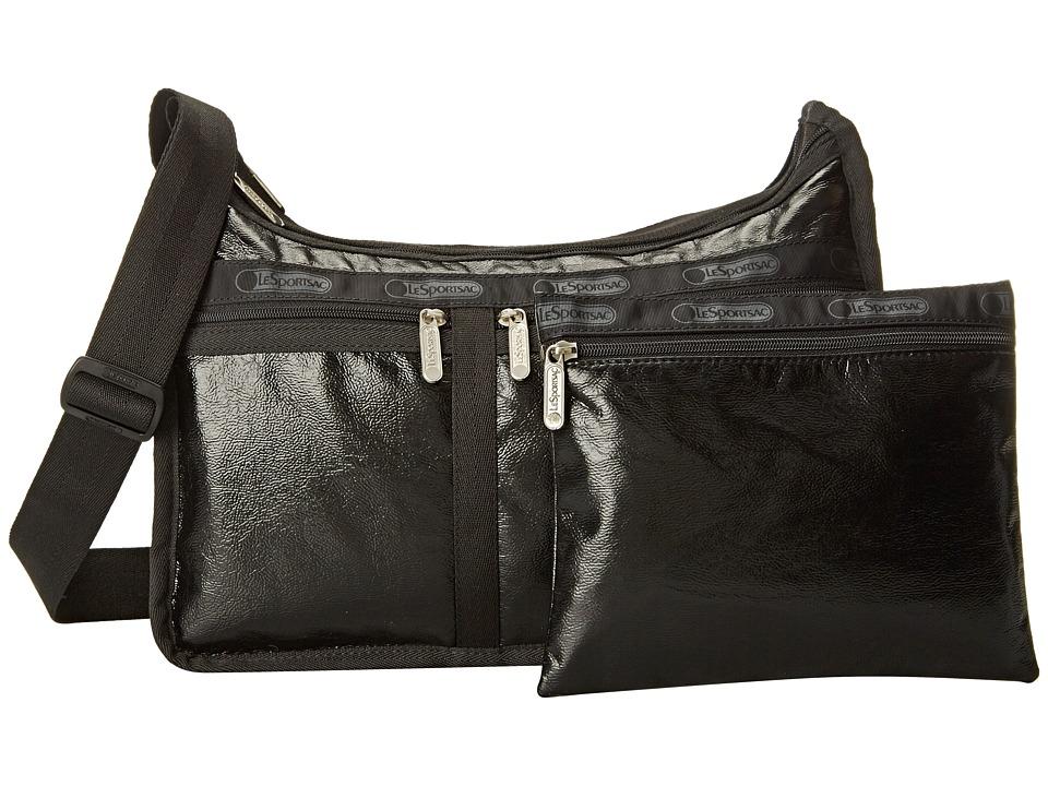 LeSportsac - Deluxe Everyday Bag (Black Crinkle Patent) Cross Body Handbags